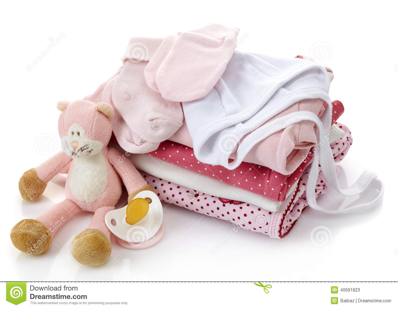 Pile of pink baby clothes