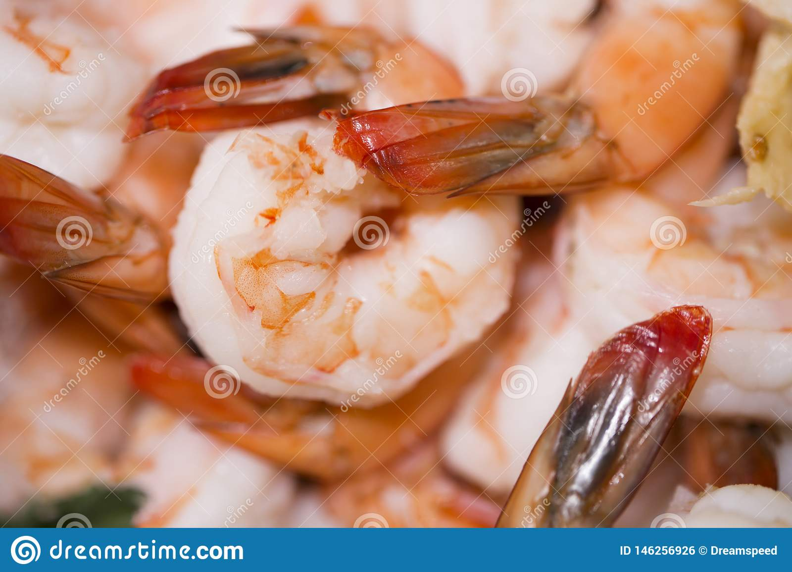 Pile of plumb, fresh cooked shrimp