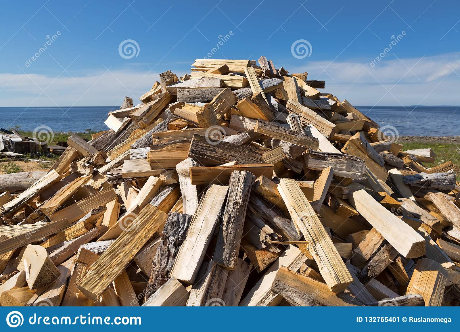 Pile of punctured firewood