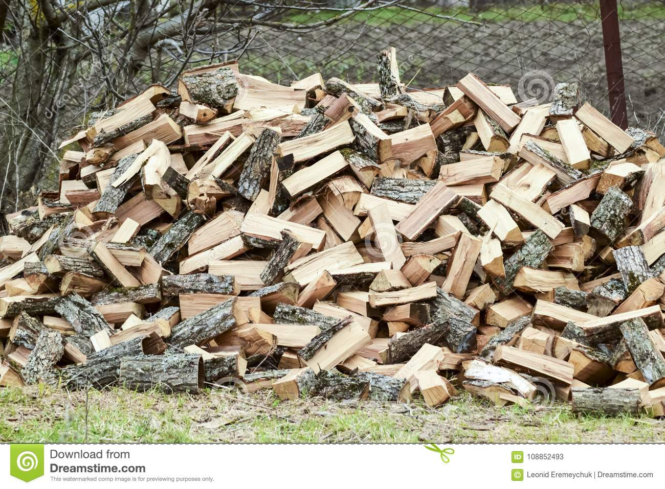 A pile of punctured firewood. Harvested wood for the stove