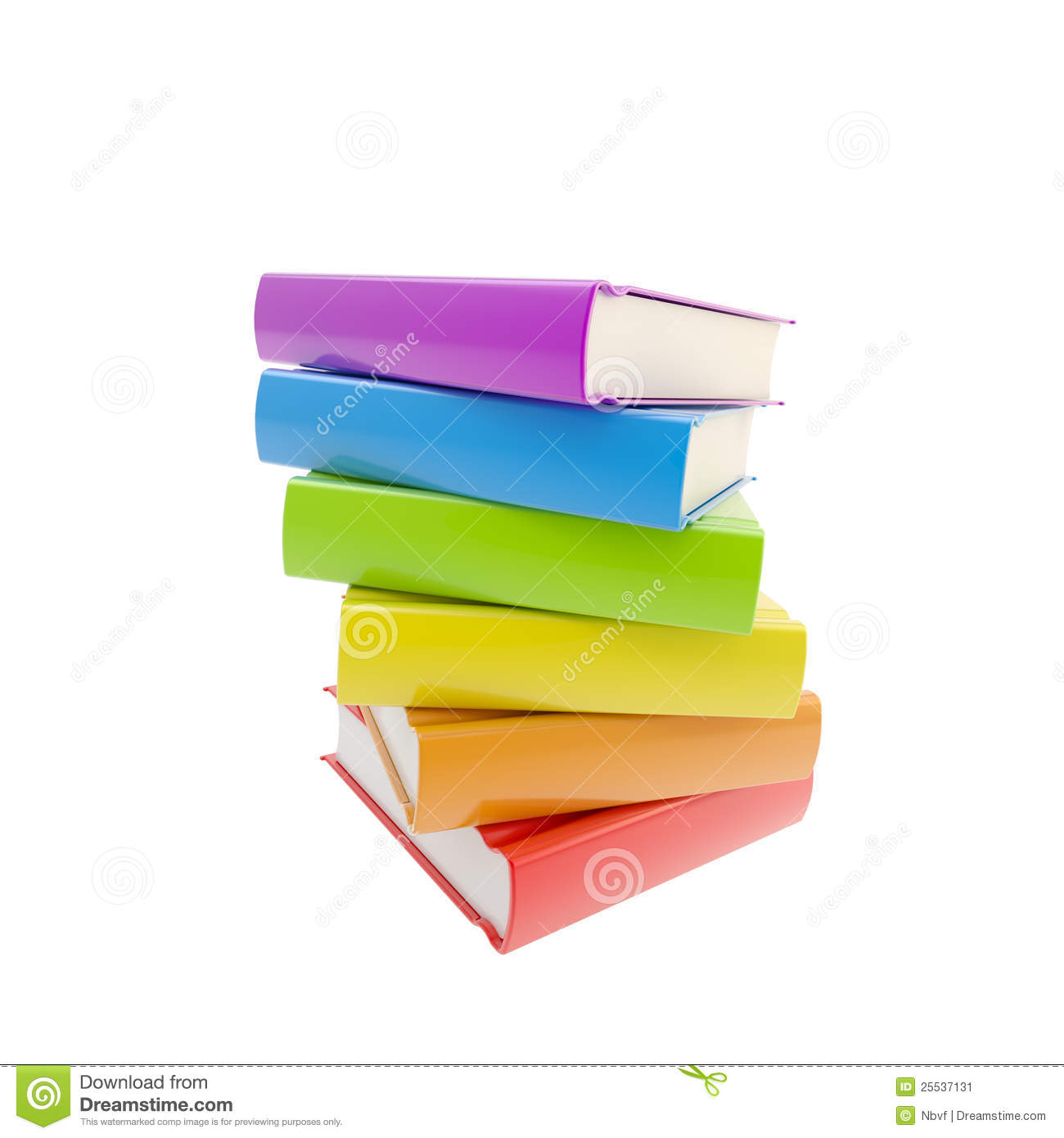 Pile of rainbow colored glossy books isolated