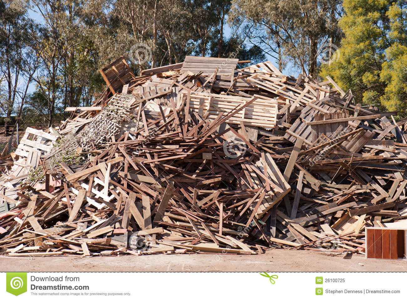 Pile Of Timber : Pile of raw timber for recycling royalty free stock photo