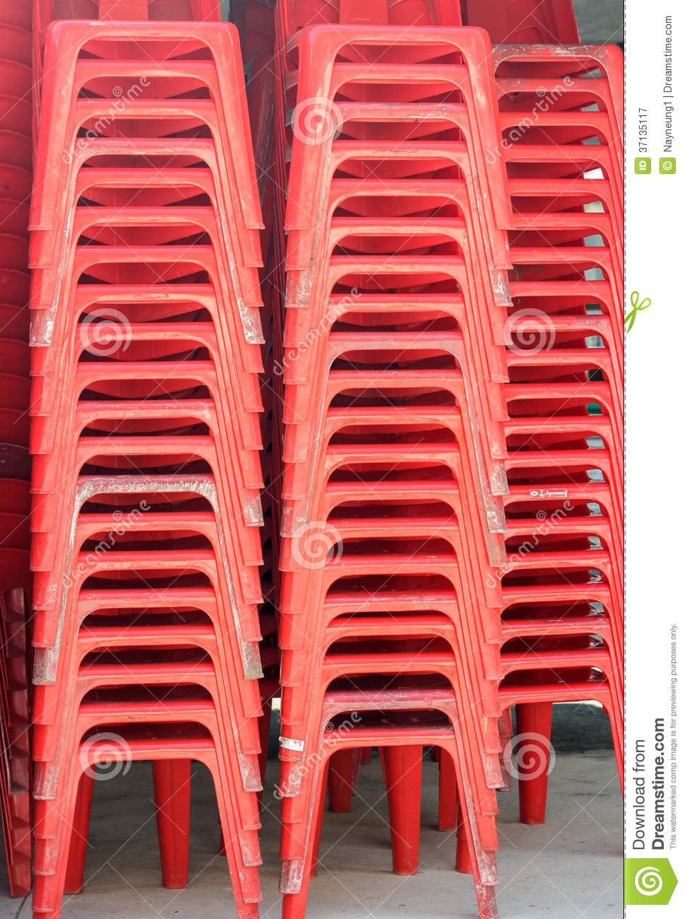 Pile Of Red Plastic Chairs Stock Image Image Of Pile