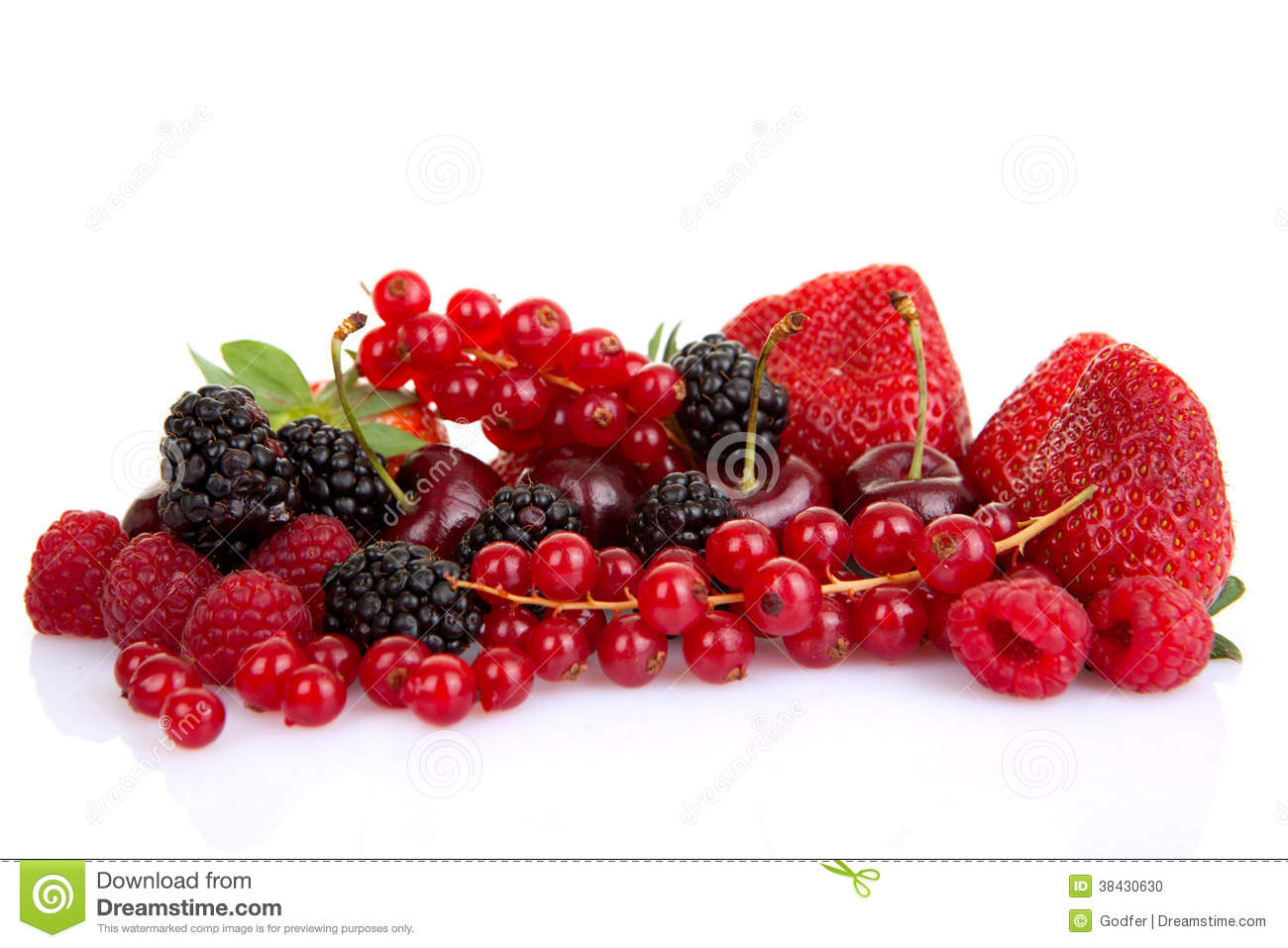 Pile of red summer fruits or berries