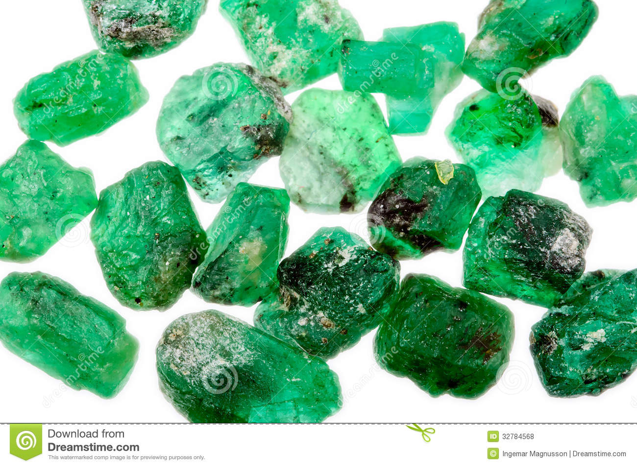 A Pile Of Rough Uncut Green Emeralds Royalty Free Stock