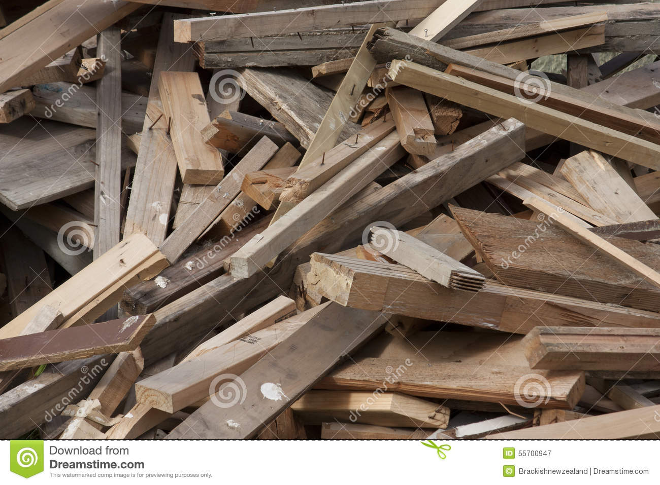 pile of scrap lumber stock photo