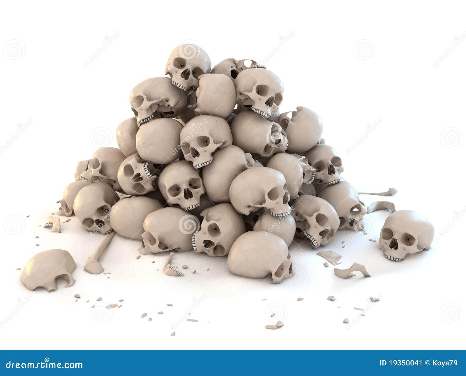 Pile of skulls isolated over white 3d illustration.