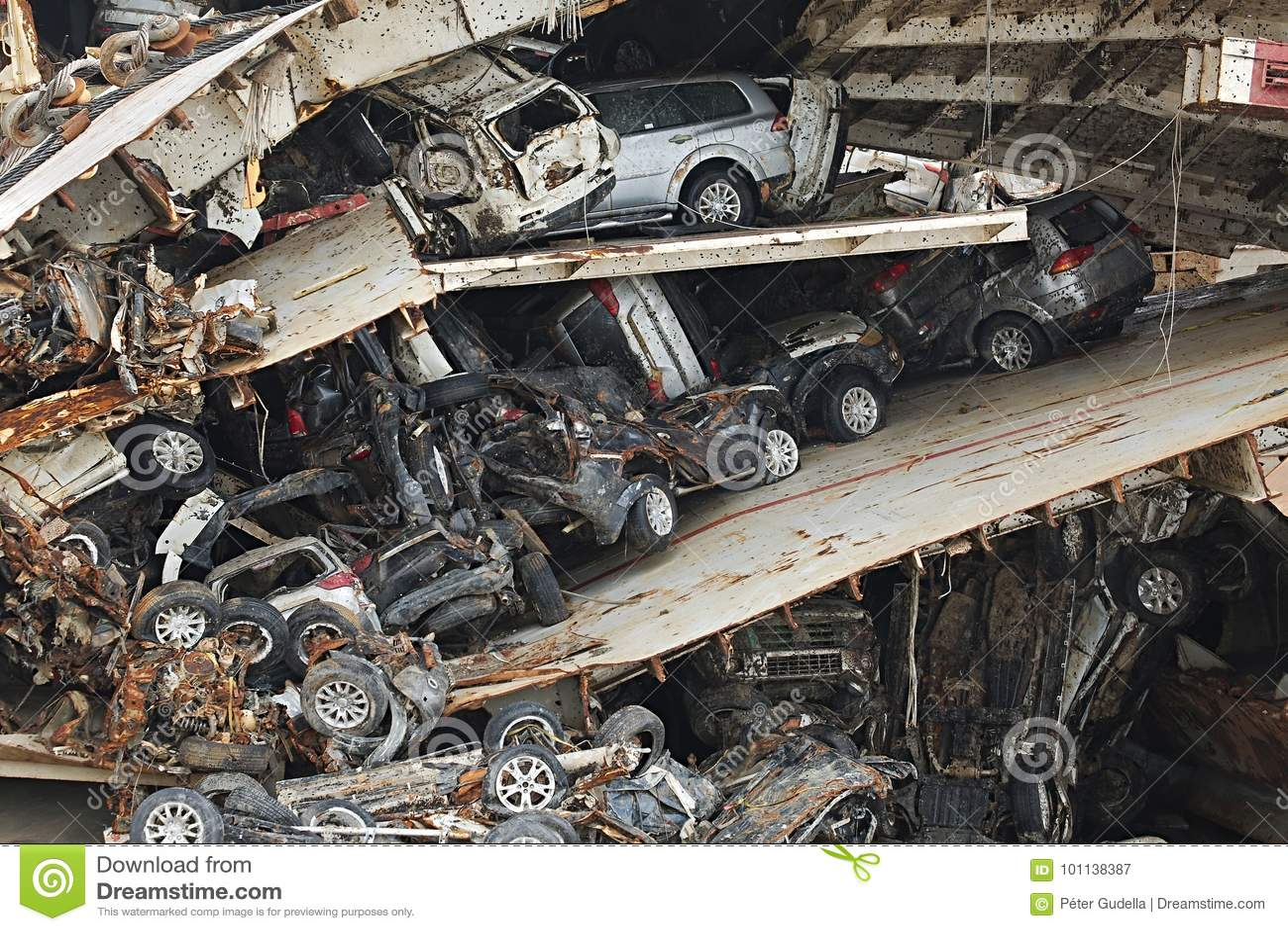 Pile of smashed car wrecks stock image  Image of crash