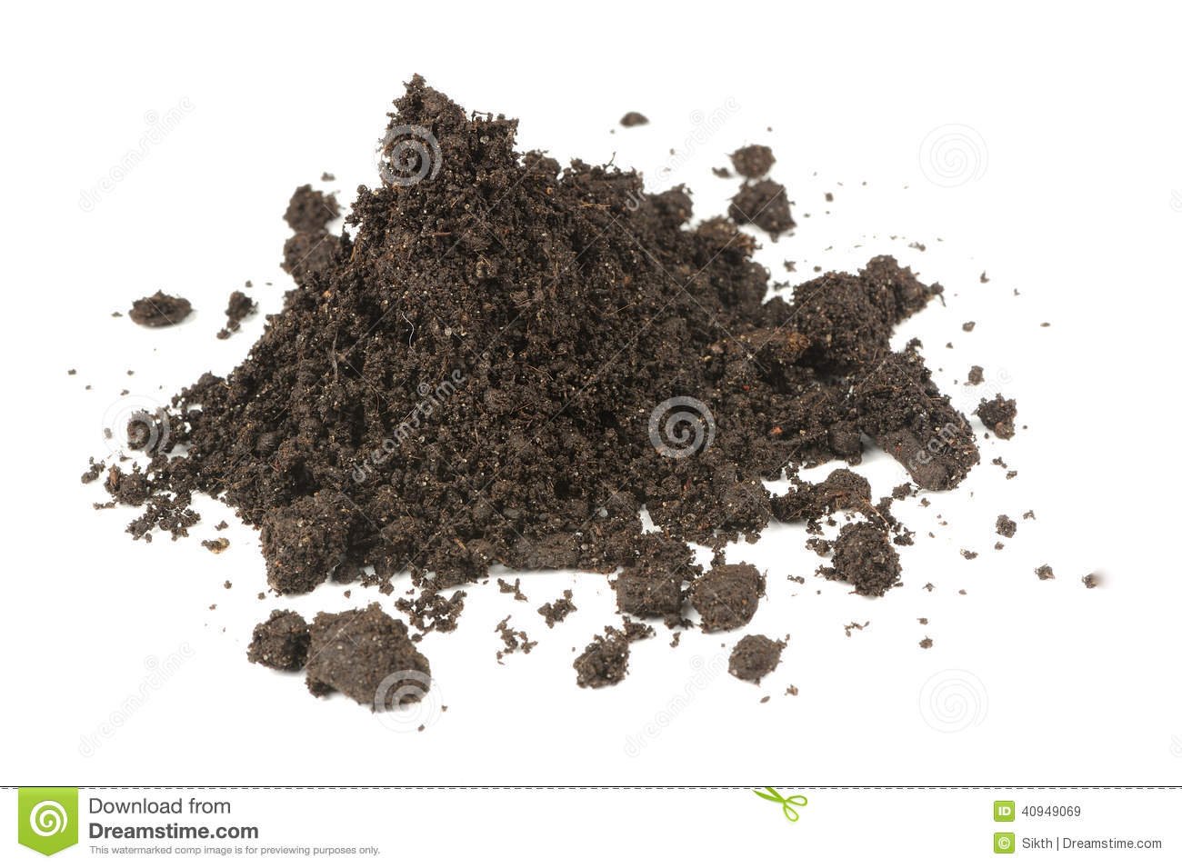 Pile of soil isolated on white background stock image for What is dirt made up of