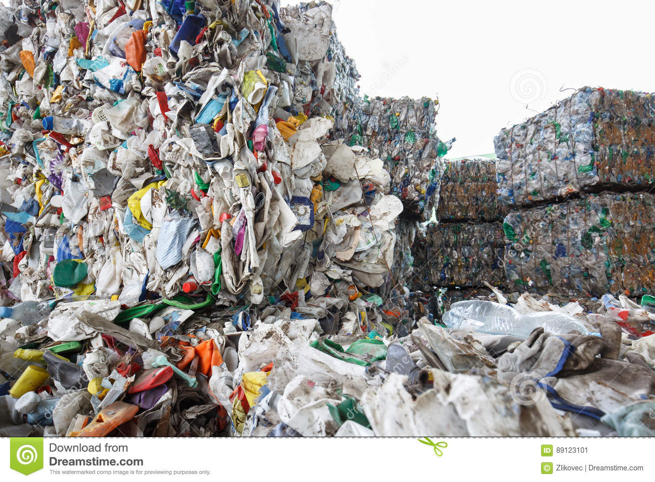 Pile of sorted plastic waste