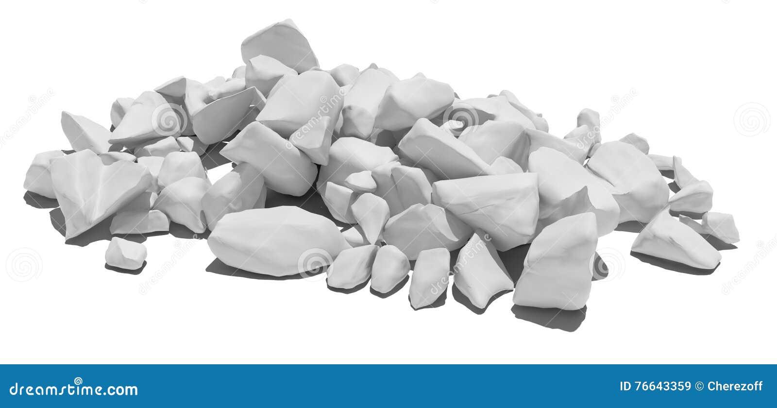 Pile Of Stone Isolated On White Background Stock