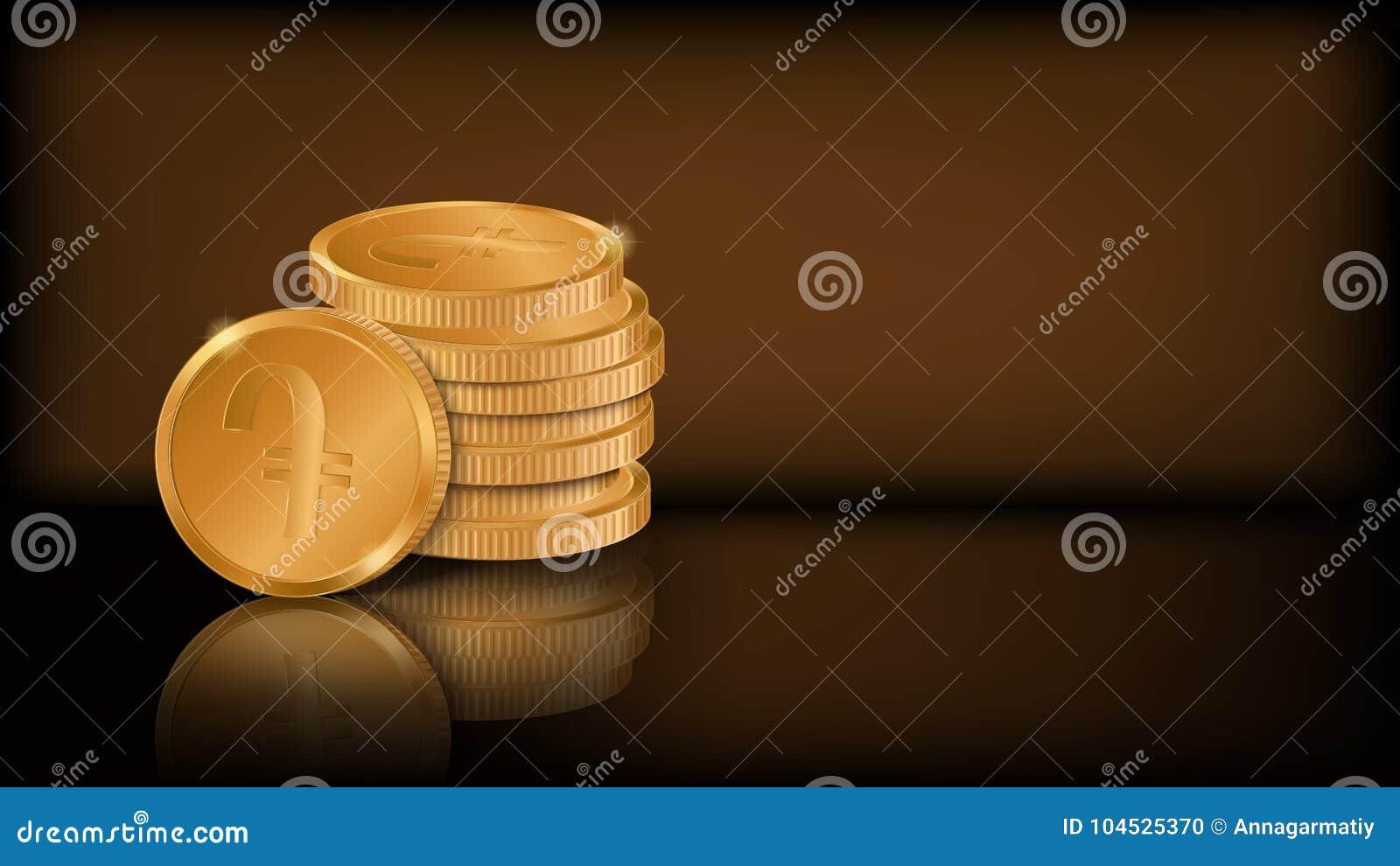 Pile Of Stylized Golden Coins Armenian Dram Symbol Stock Vector