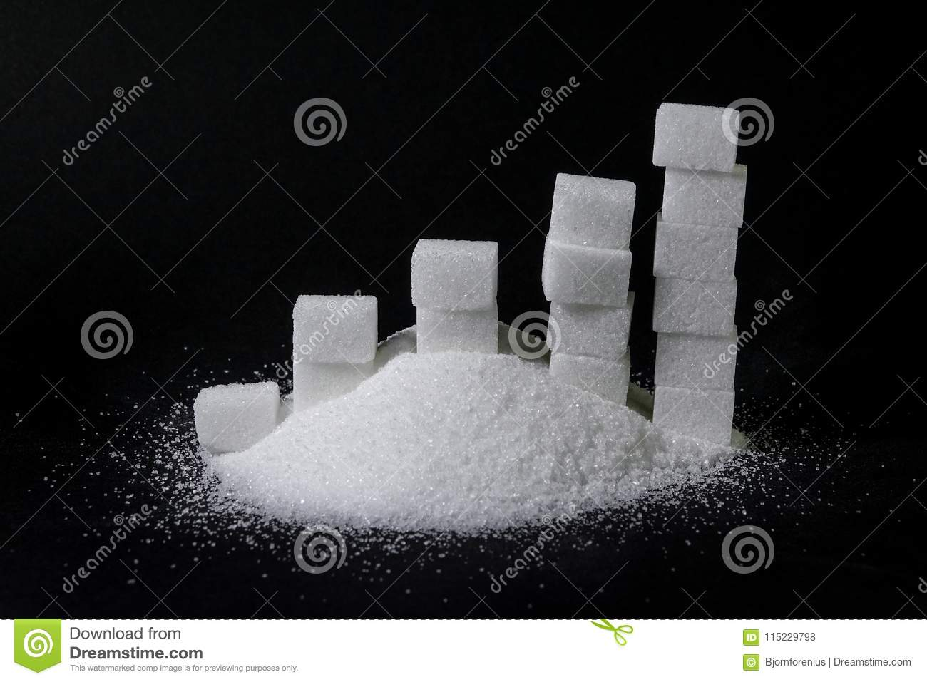 A Pile Of Sugar And A Chart Made Of Sugar Lumps / Pieces