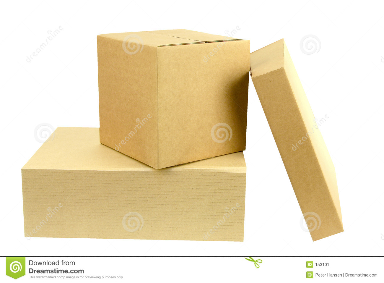 Pile of three boxes front on