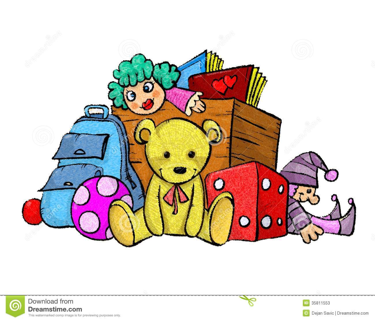 Christmas Toys Cartoon : Pile of toys stock photos image