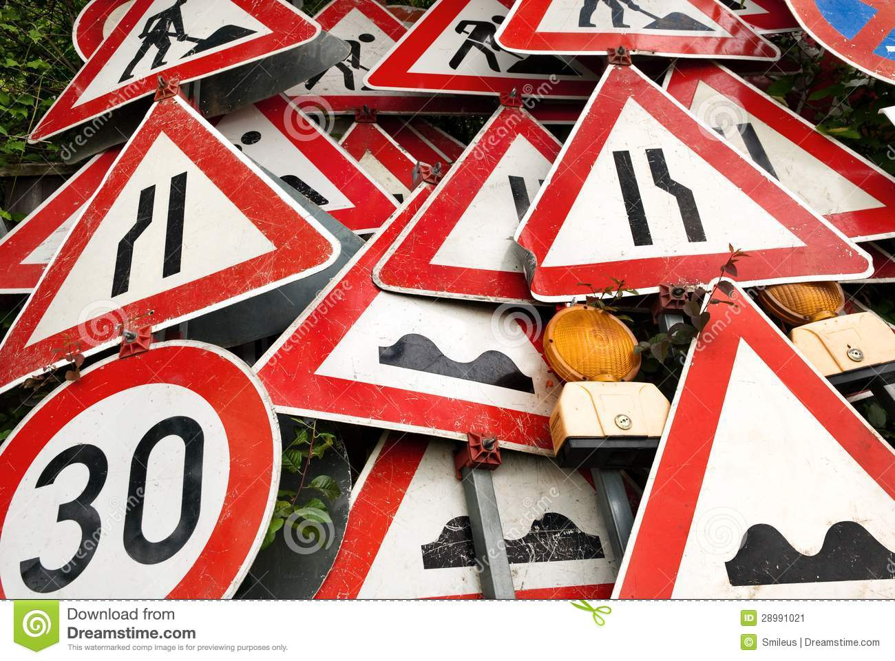 Triangle Road Signs >> Pile Of Traffic Signs Stock Image - Image: 28991021