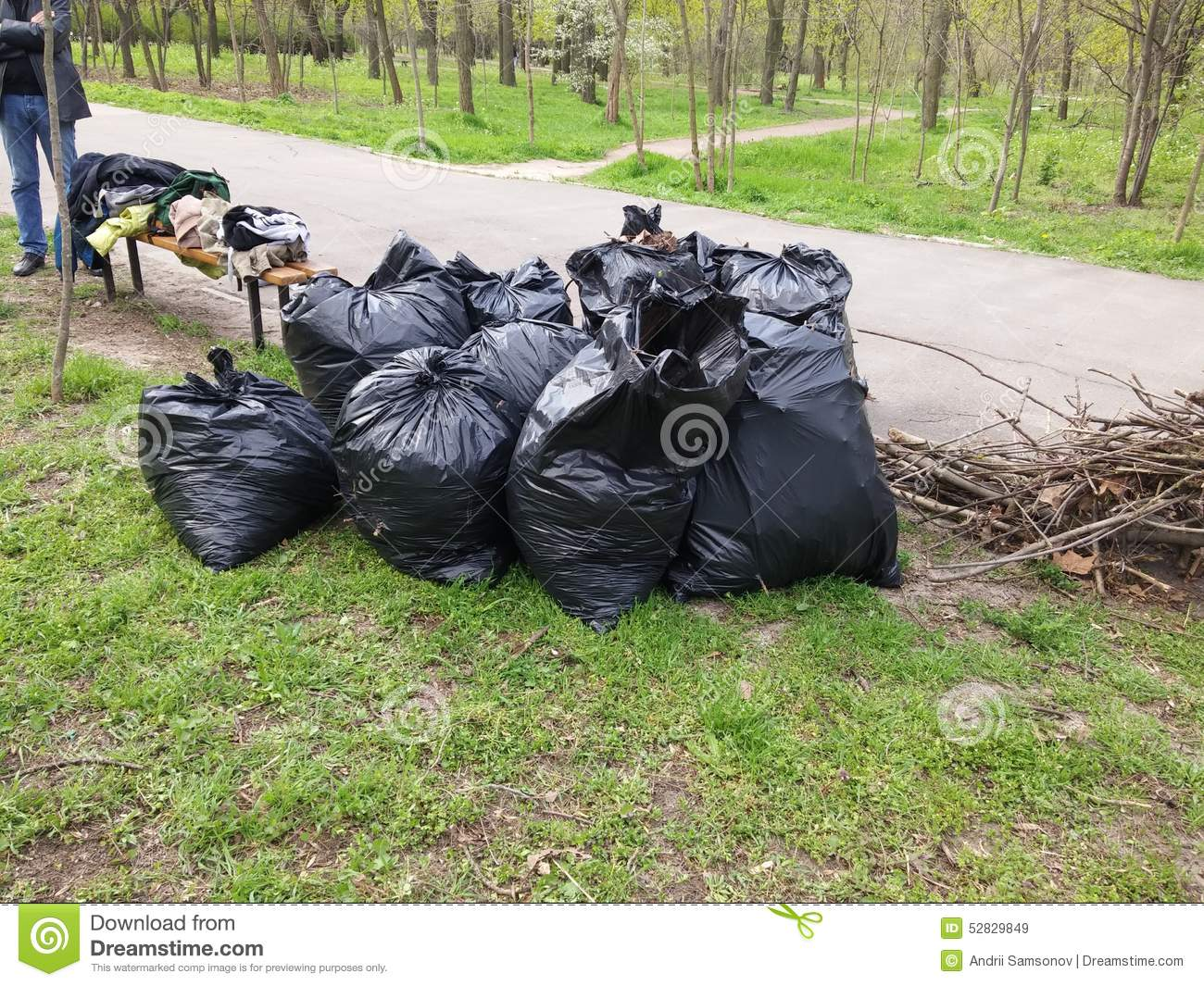Pile Of Trash Bags Stock Photo - Image: 52829849