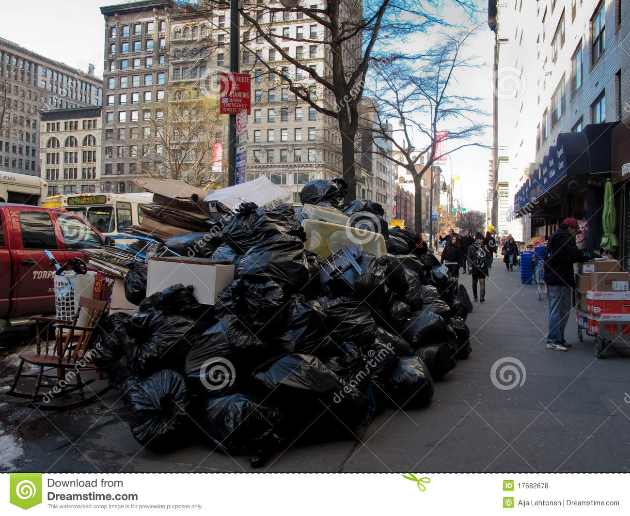 Texting While Driving >> Pile Of Trash On Street In New York City Editorial Stock Photo - Image: 17682678