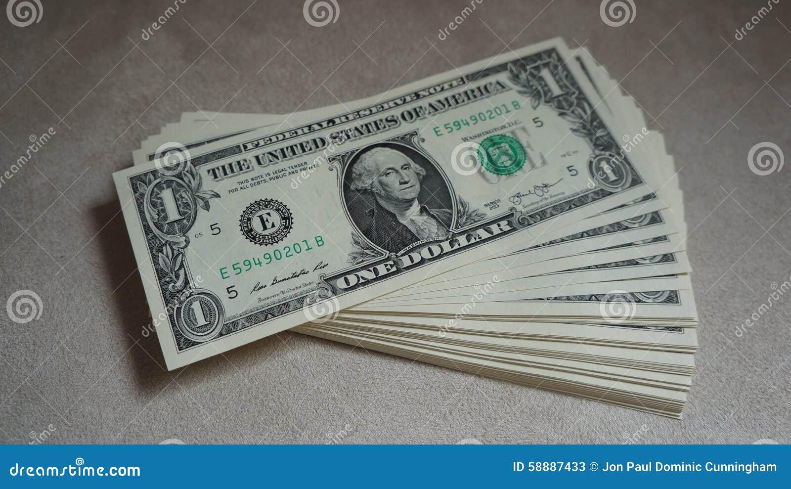 Pile Of United States Of America $1 Bills Cash Stock Photo ...