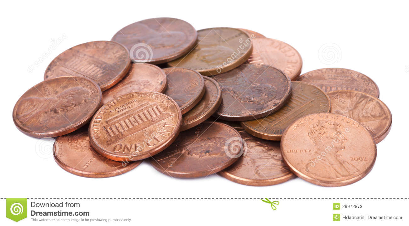 Isolated Pile of Pennies stock image  Image of financial