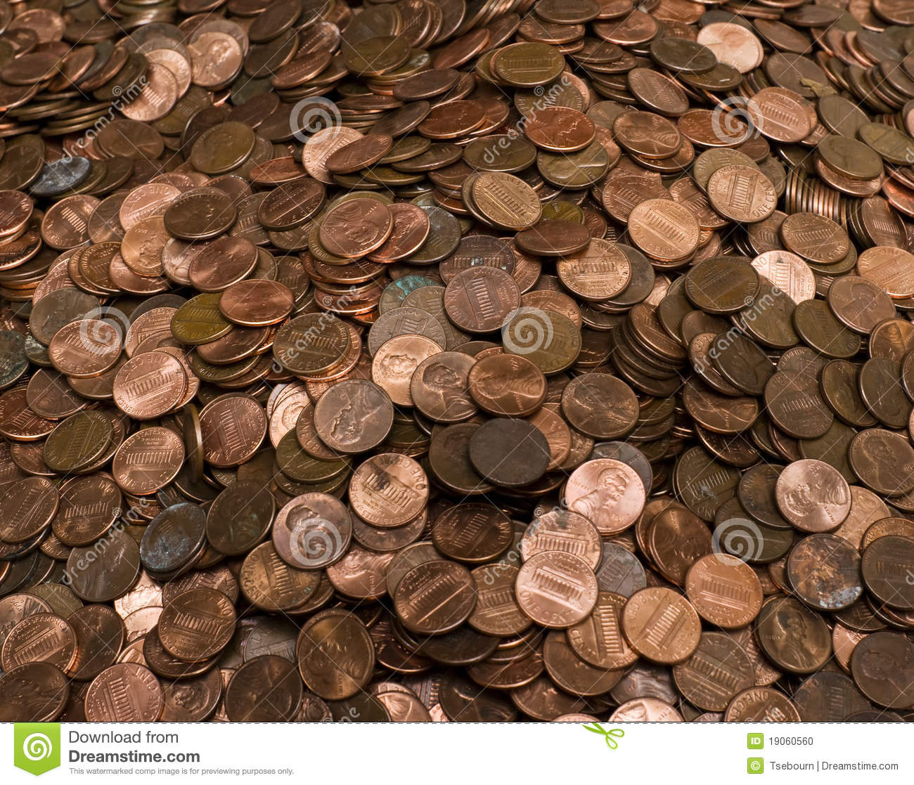 Pile Of Us Pennies Stock Photo Image 19060560