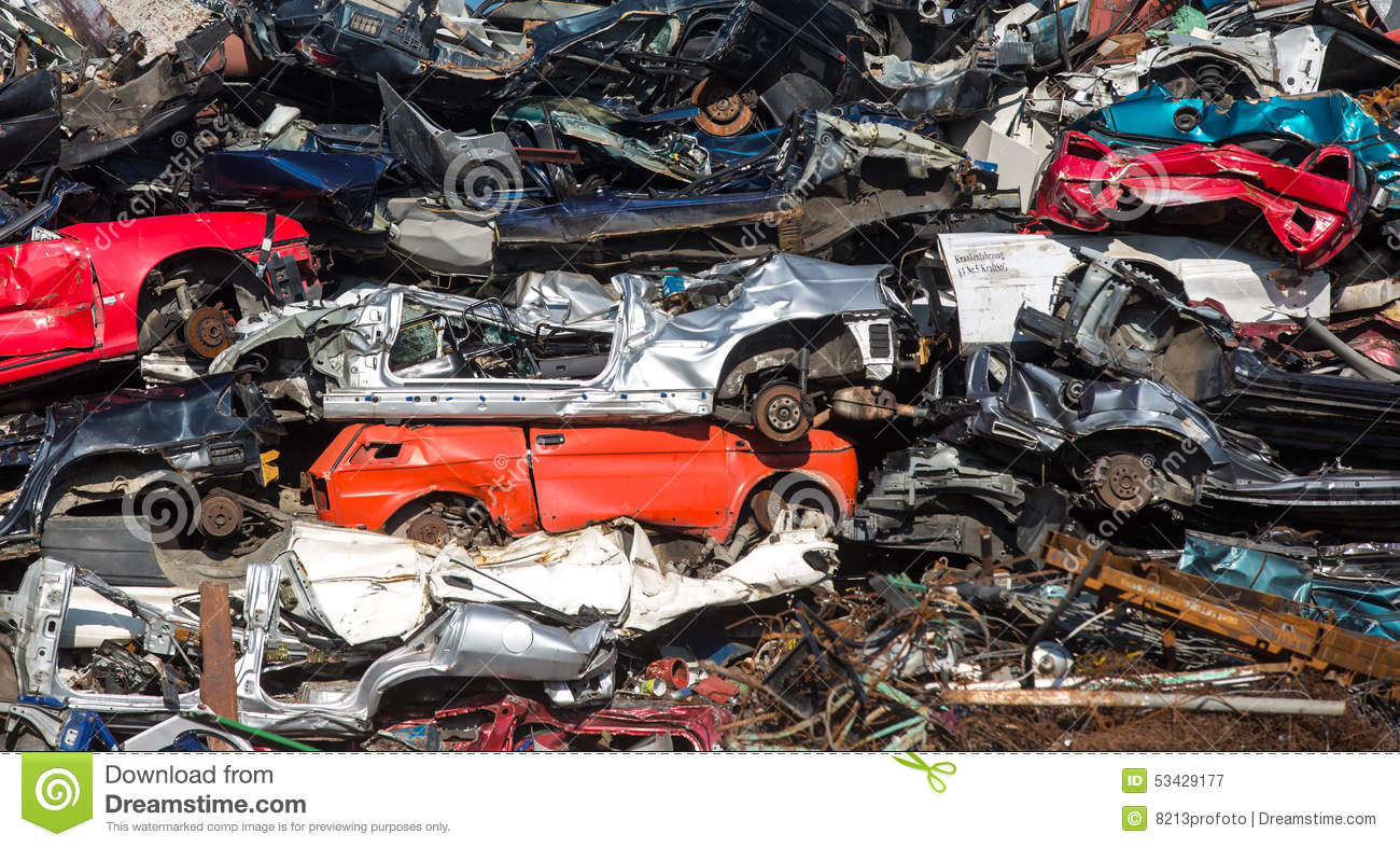 Pile Of Used Cars, Car Scrap Yard Stock Image - Image of household ...