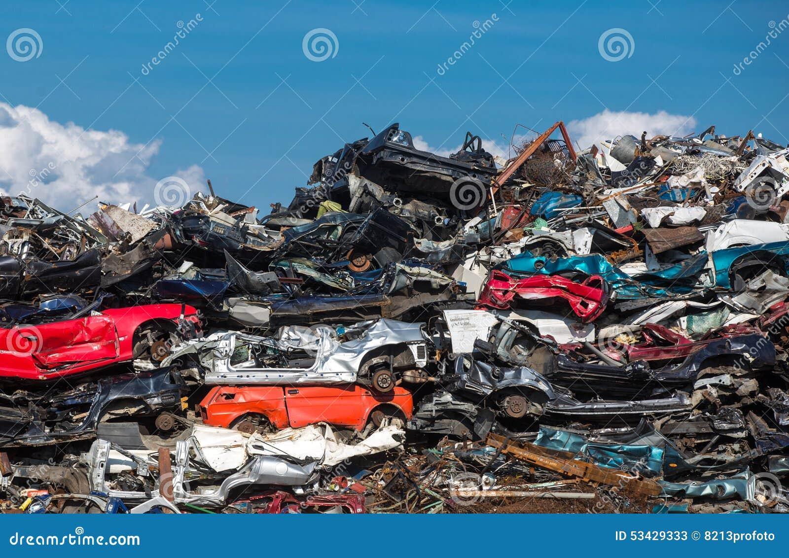 Pile Of Used Cars, Car Scrap Yard Stock Image - Image of heap, iron ...