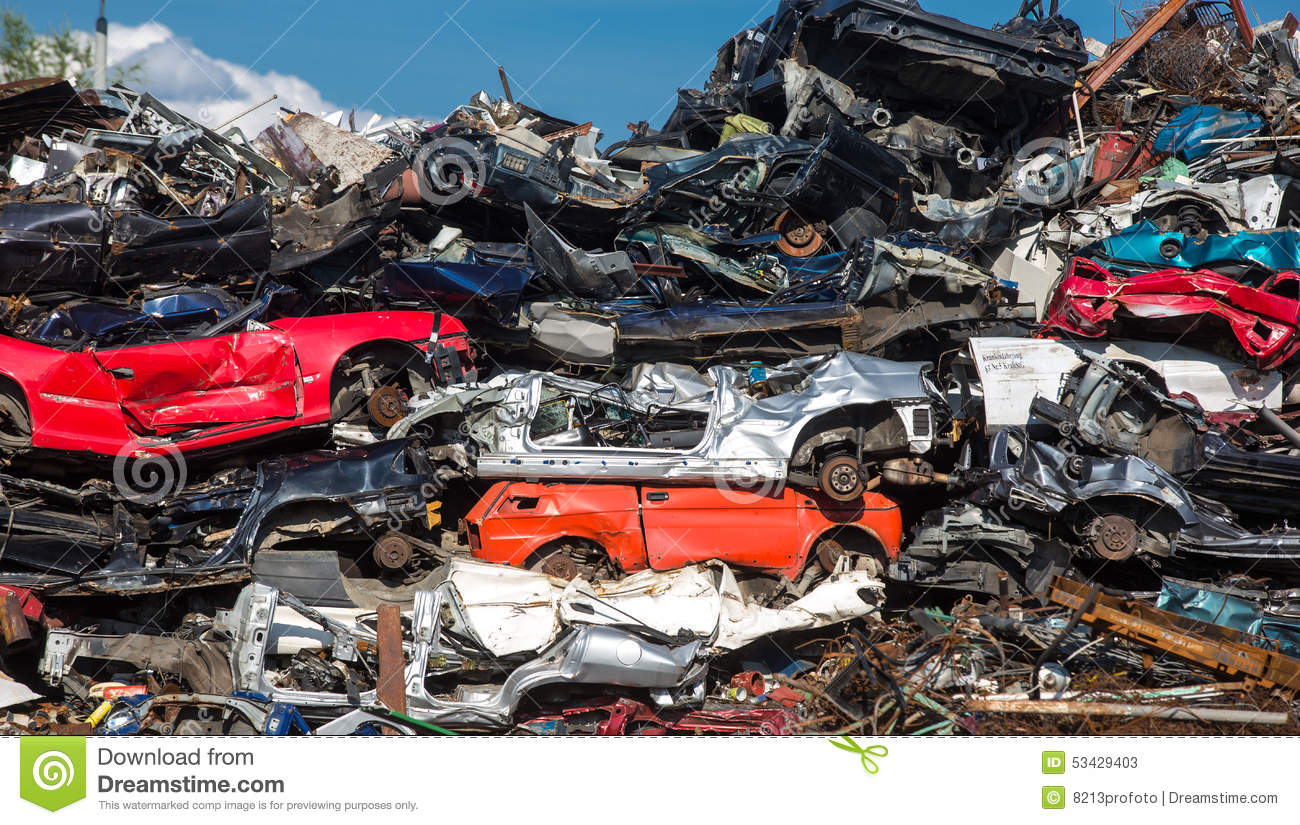 Pile Of Used Cars Car Scrap Yard Stock Photo Image