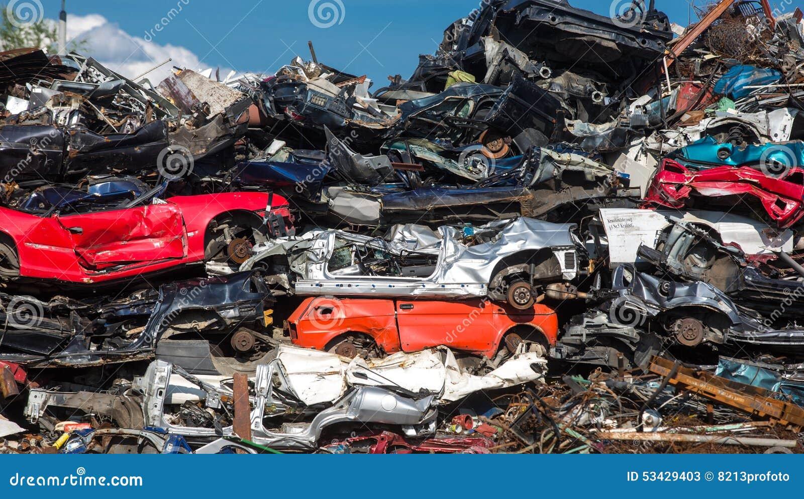 Pile Of Used Cars, Car Scrap Yard Stock Image - Image of ...