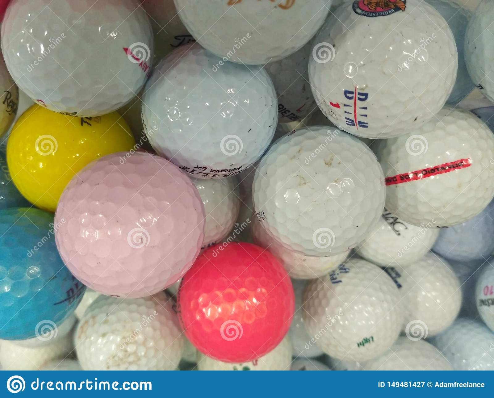 Pile of used golf ball