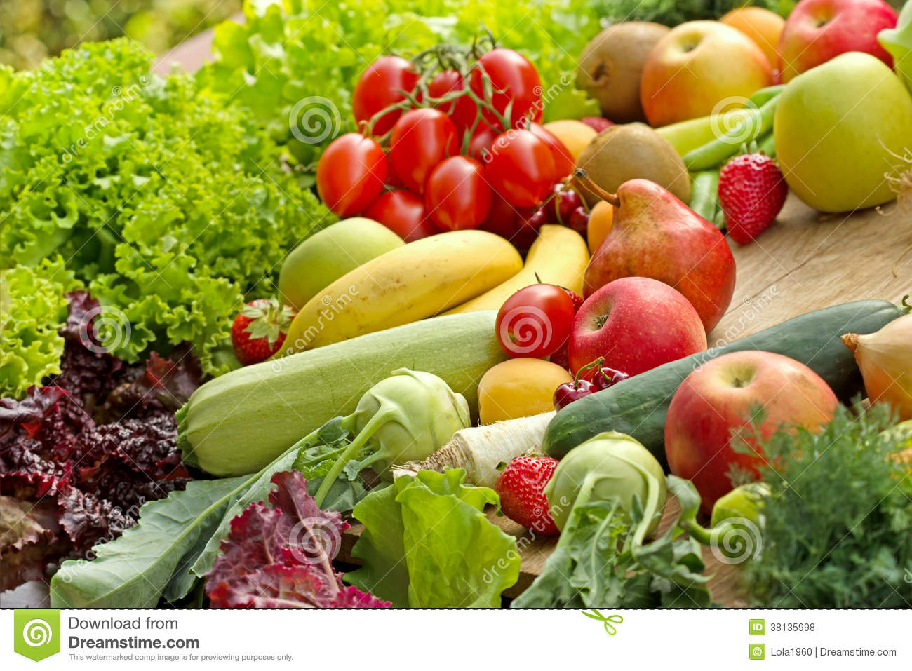 Pile of various fruits and vegetables
