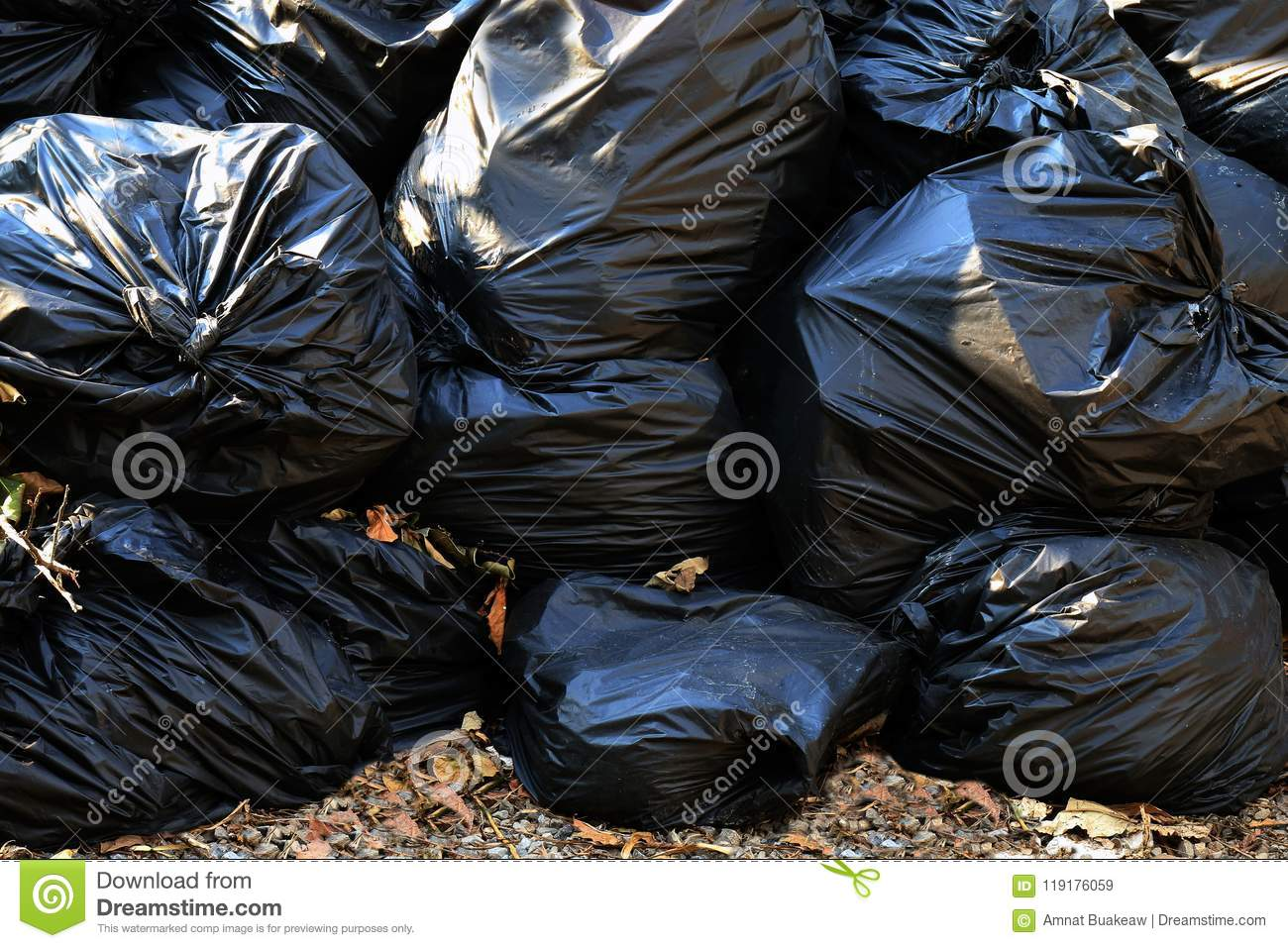 Pile waste plastic bags many garbage trash closeup for background, pile of garbage plastic black, pollution trash plastic waste an