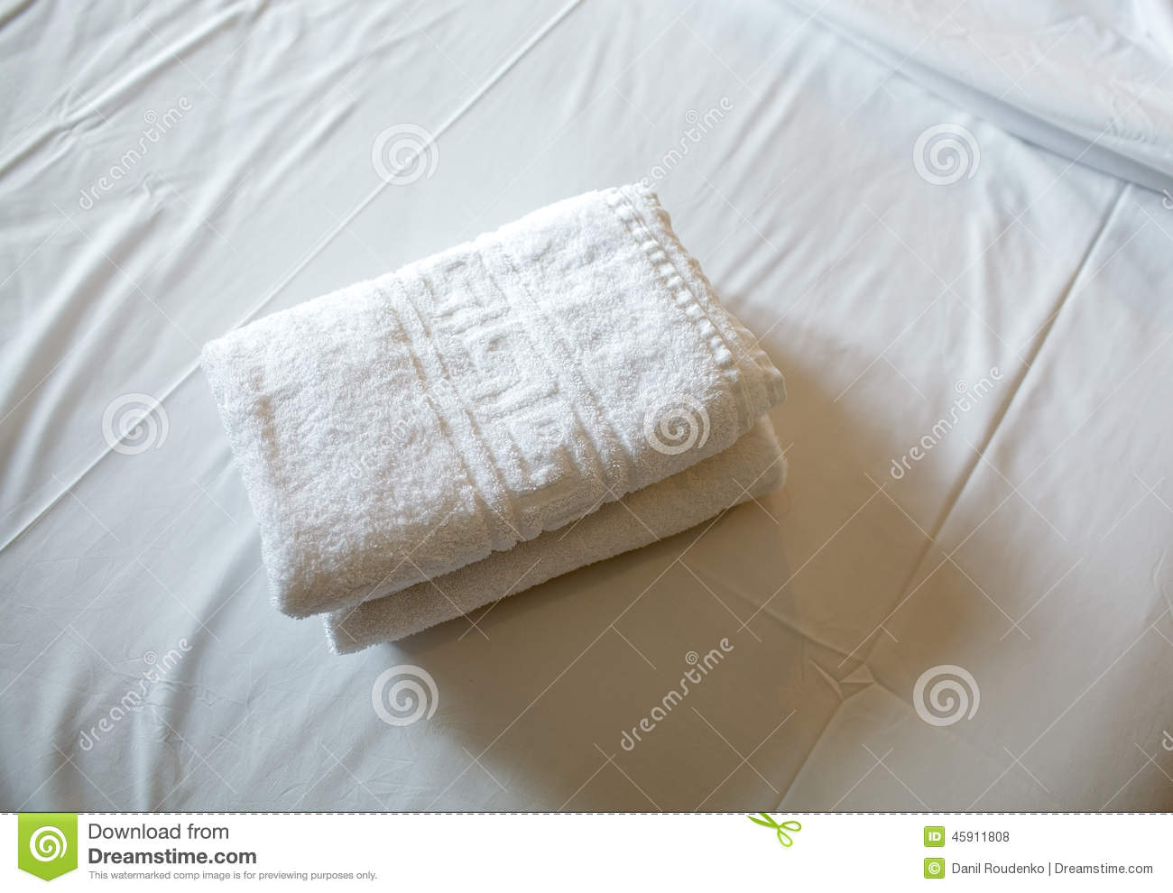 Pile of white clean towels on the bed stock photo image 45911808 - Wash white sheets keep fresh ...