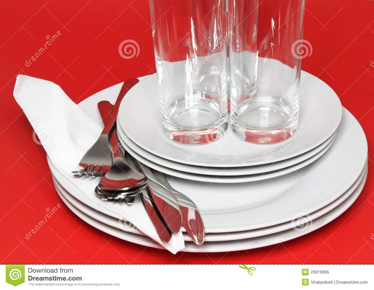 pile of white plates glasses forks spoons royalty free. Black Bedroom Furniture Sets. Home Design Ideas