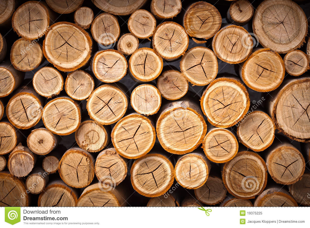 Log Fire Wood ~ Pile of wood logs ready for winter stock image