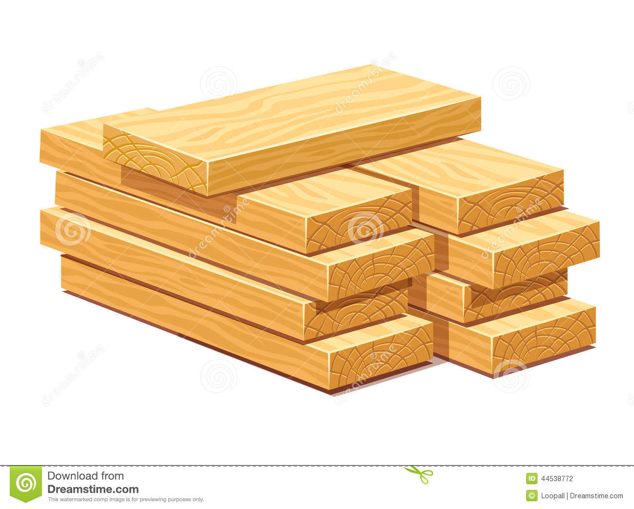 Pile of wooden timber planks stock illustration
