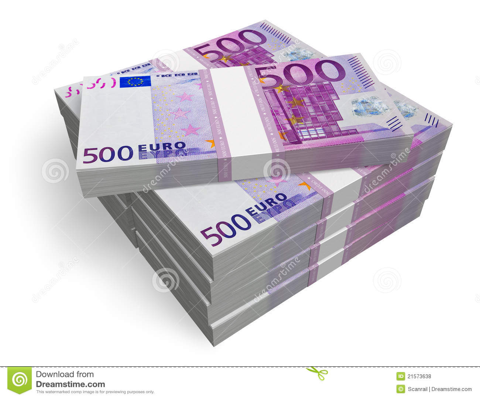piles de 500 euro billets de banque photos libres de droits image 21573638. Black Bedroom Furniture Sets. Home Design Ideas