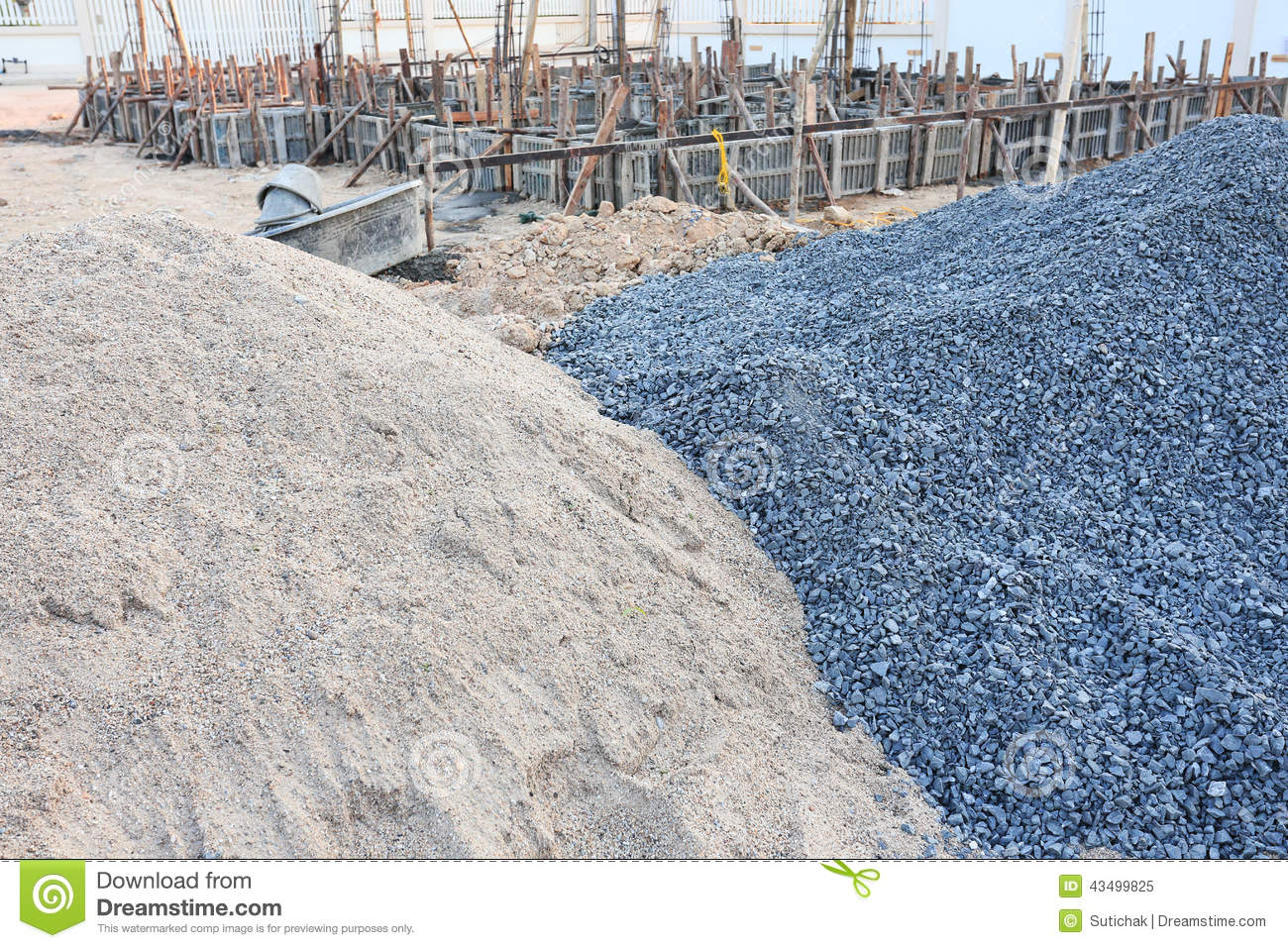 Piles gravel and sand stock image image of piles - Materiales de construcion ...