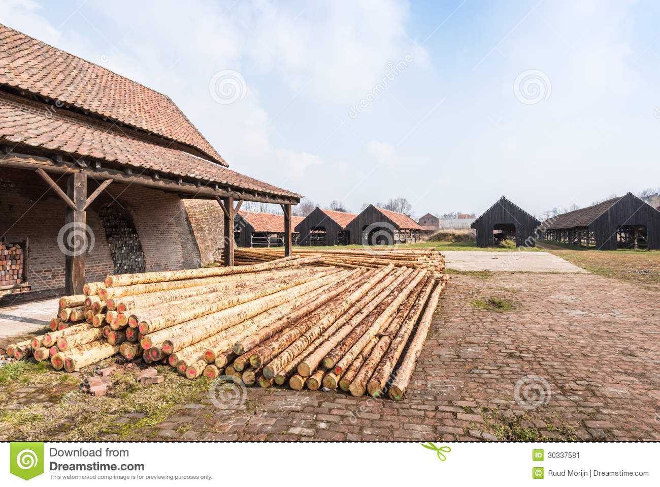 Wood Piling Construction : Piles of peeled pine wood for construction stock image