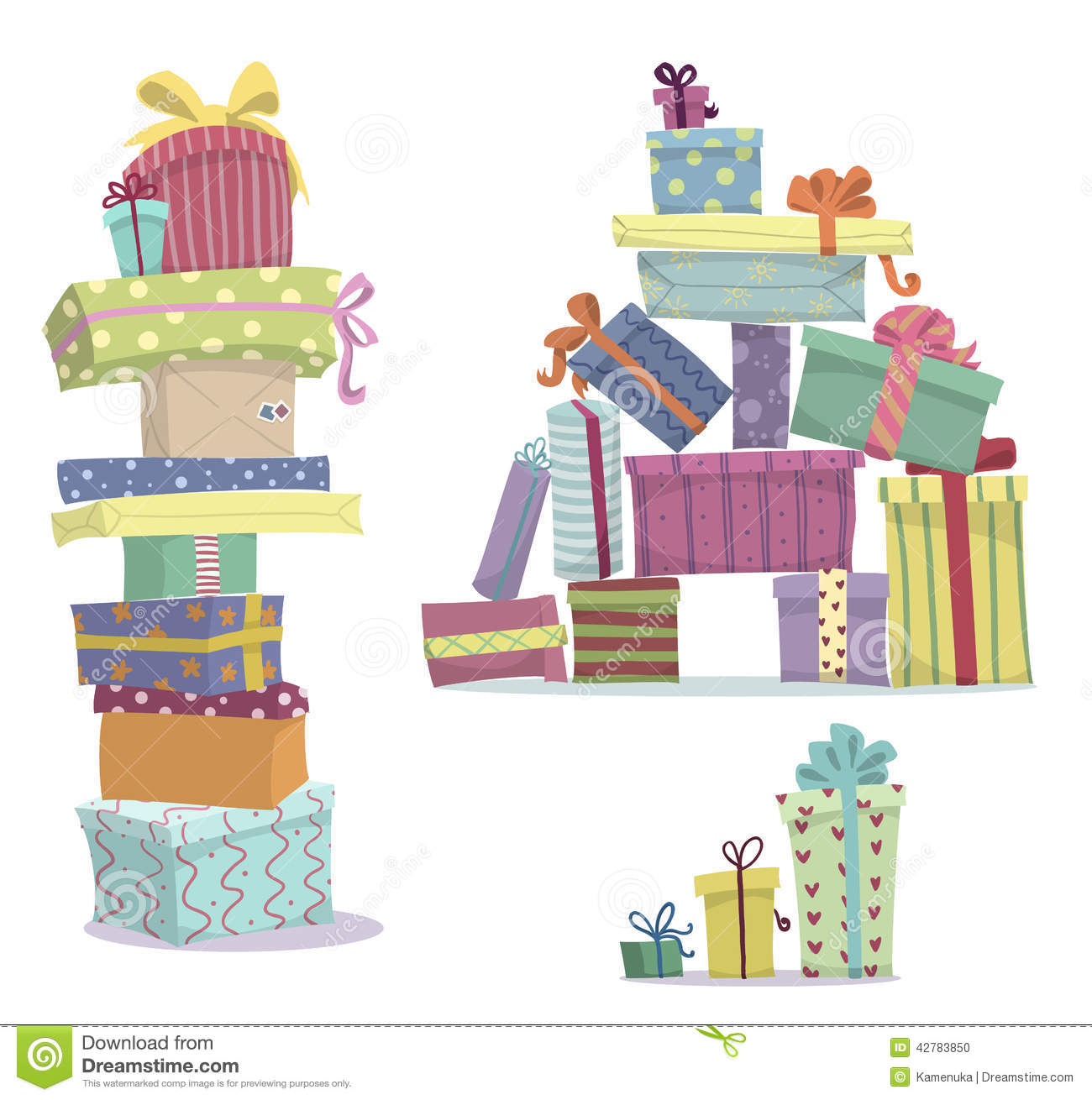 Piles of presents. Doodle heaps of gift boxes