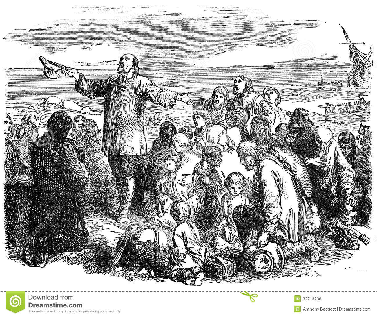 Pilgrim Fathers Leaving England Royalty Free Stock Image