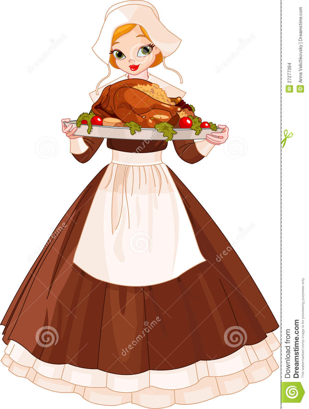 Pilgrim Girl With Plate Stock Images