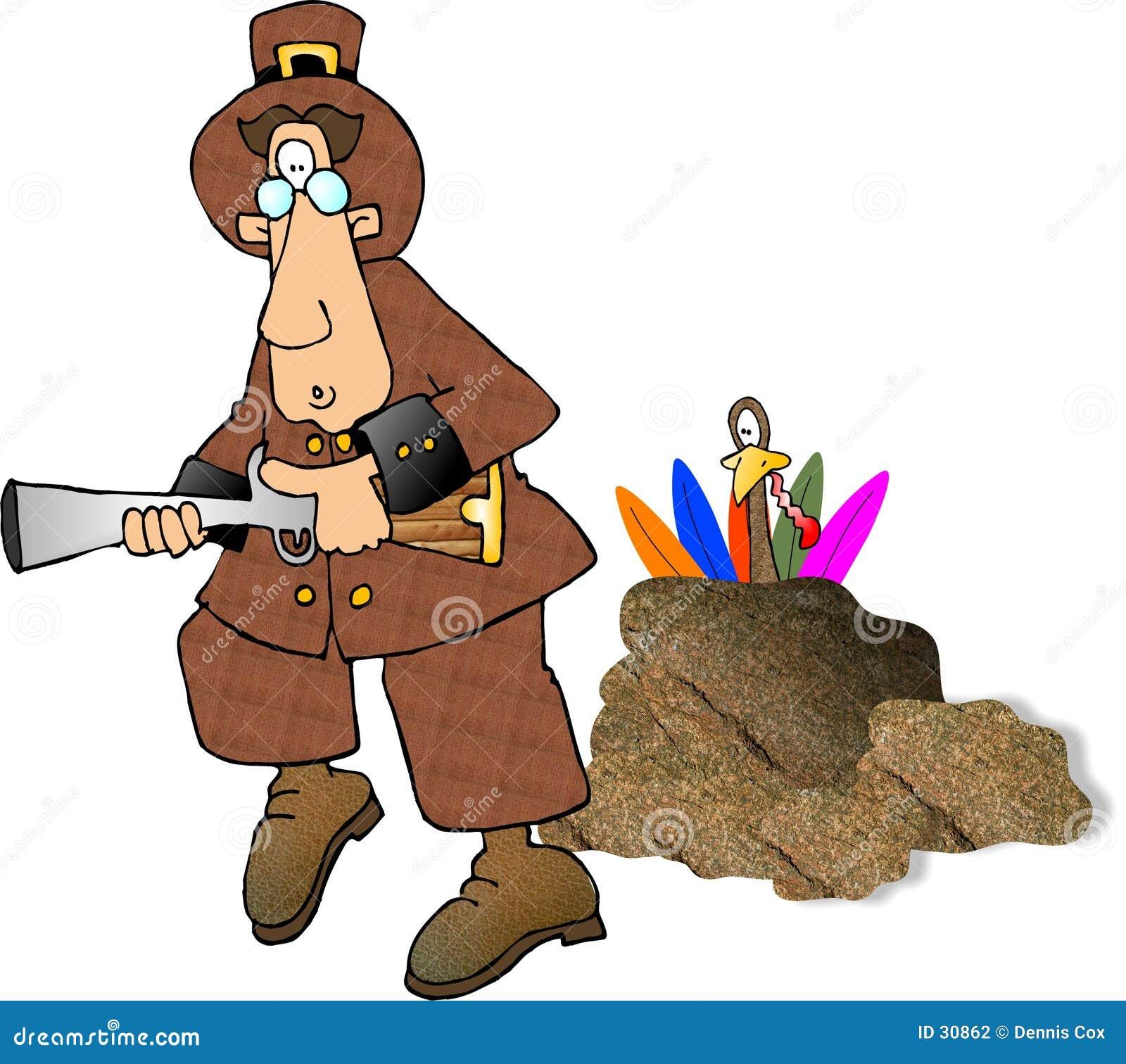 Pilgrim Hunting Turkeys
