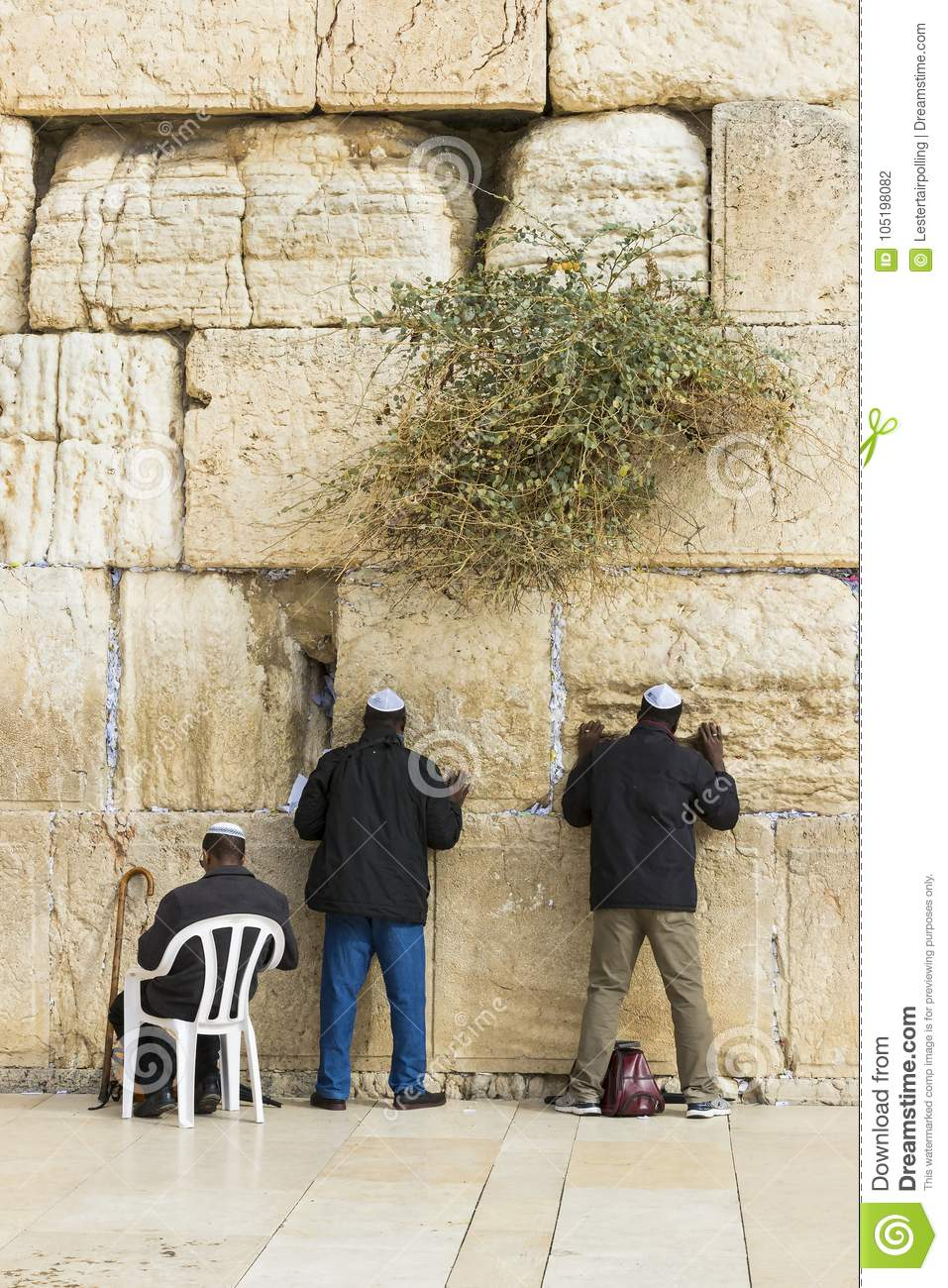 Pilgrims pray at the wall of the weeping of the holy place of the Jewish people and the center of worship of Christians around the