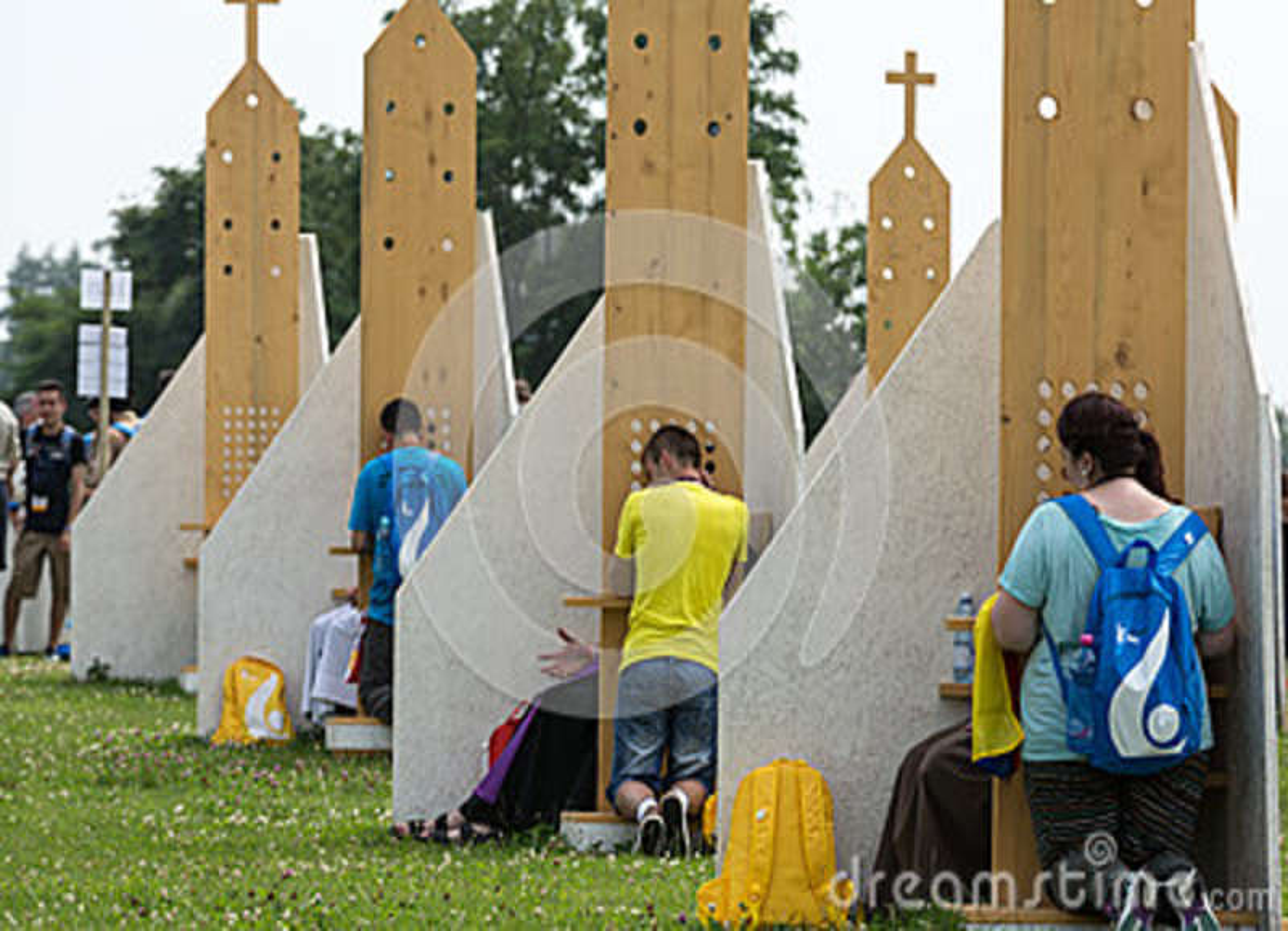 Pilgrims in Zone of Reconciliation at Sanctuary of Divine Mercy in Lagiewniki.