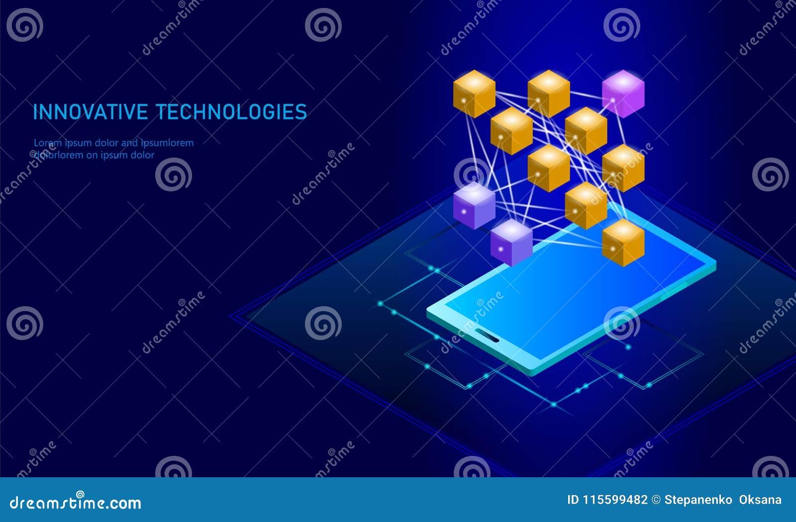 Pilha de aprendizagem profunda do smartphone da rede neural Conceito cognitivo da tecnologia Memória lógica da inteligência artif