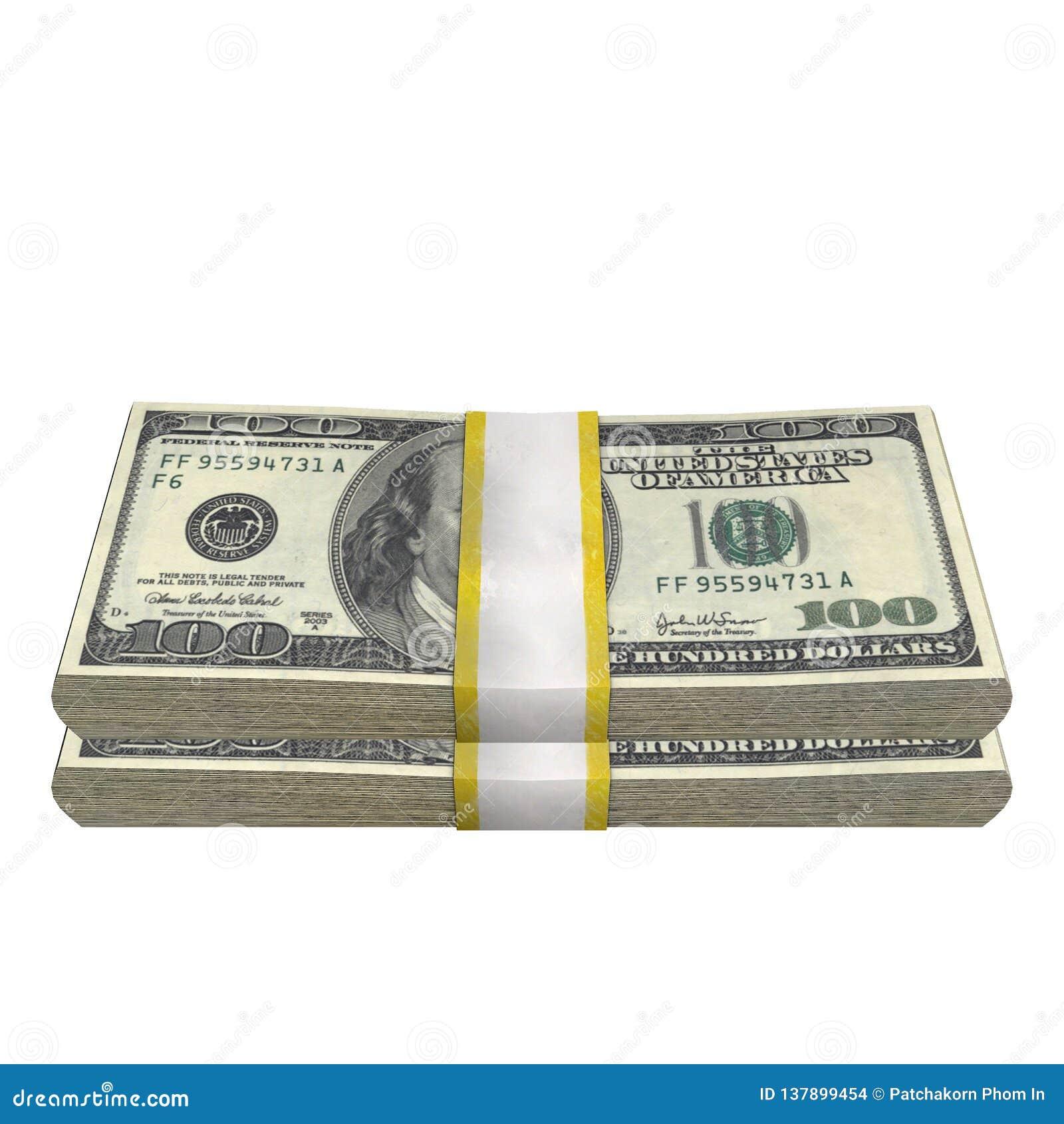 Pilha de 100 da cédula da conta dos EUA dólares de cédula do dinheiro em um fundo branco