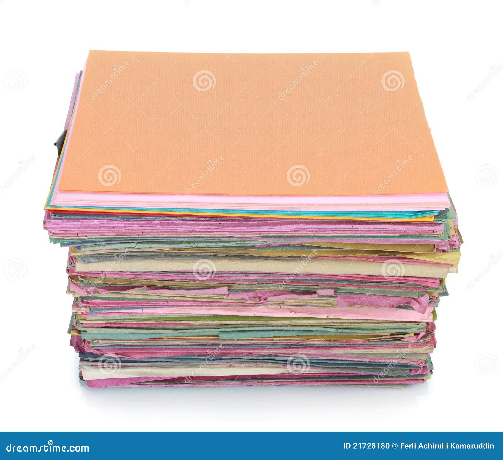 Pilha de dobrador de arquivos velho