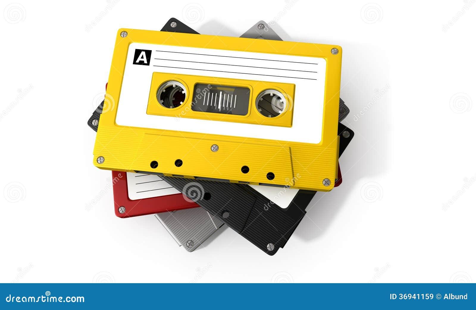 Pilha de fita da cassete áudio