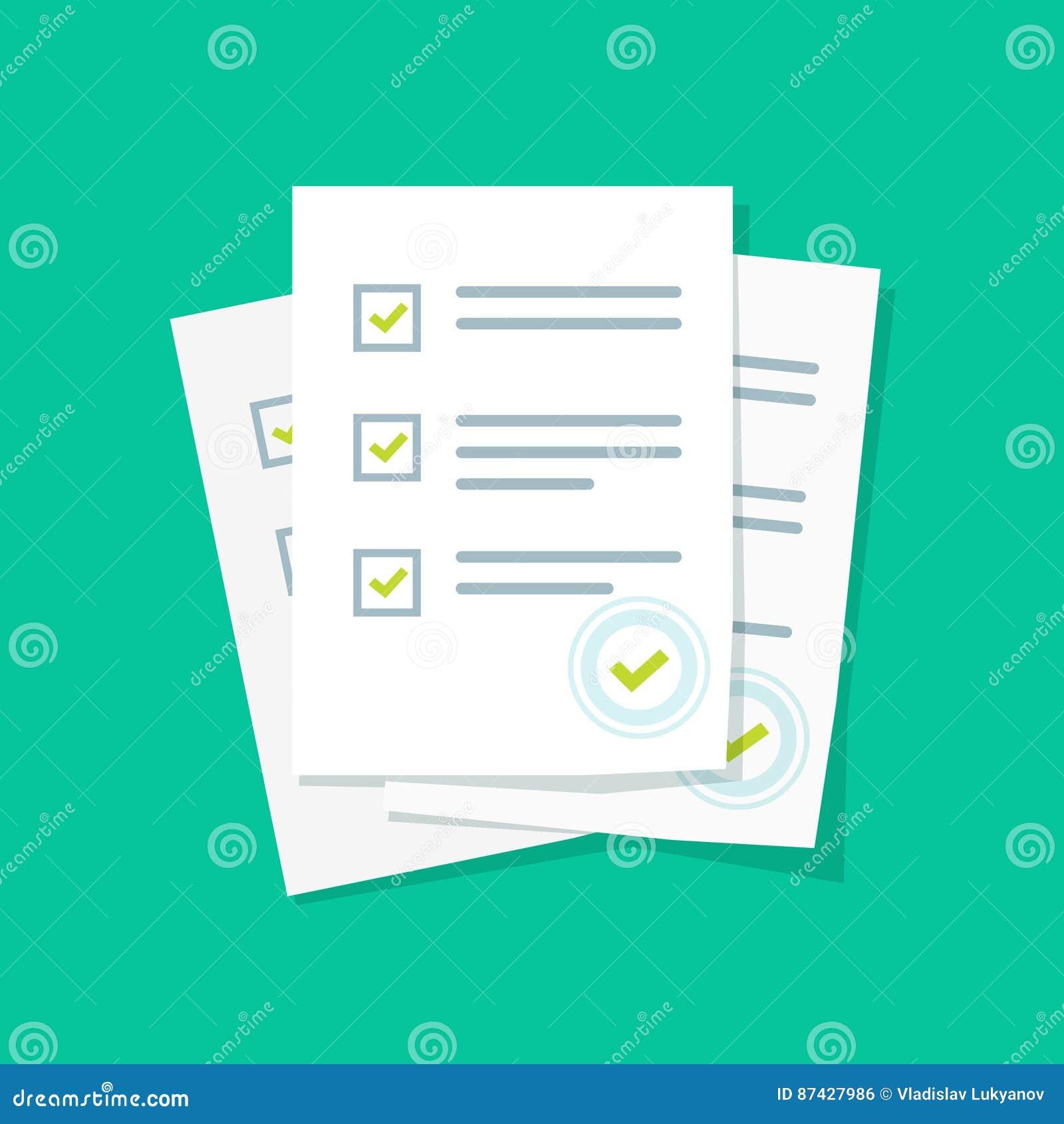 Pilha de folhas do papel do formulário da avaliação ou do exame com avaliação respondida da lista de verificação do questionário